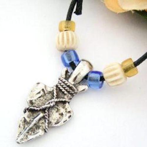 Arrowhead Bone Multi Color Crow Beads Adjustable 14 to 24 Inch Cotton Neck Cord Four Corners Jewelry