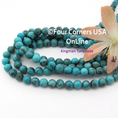 5mm Round Old Blue Kingman Turquoise Beads 16 Inch Strands TQ-17108 Four Corners USA OnLine Jewelry Making Beading Supplies