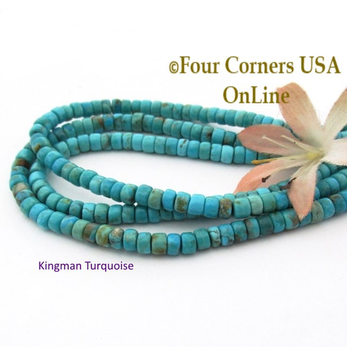 5mm Rounded Heishi Blue Kingman Turquoise Beads 22 Inch Strand TQ-17117 Four Corners USA OnLine Jewelry Making Beading Supplies