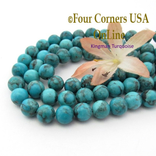 8mm Round Old Blue Kingman Turquoise Beads 16 Inch Strands TQ-17110 Four Corners USA OnLine Jewelry Making Beading Supplies