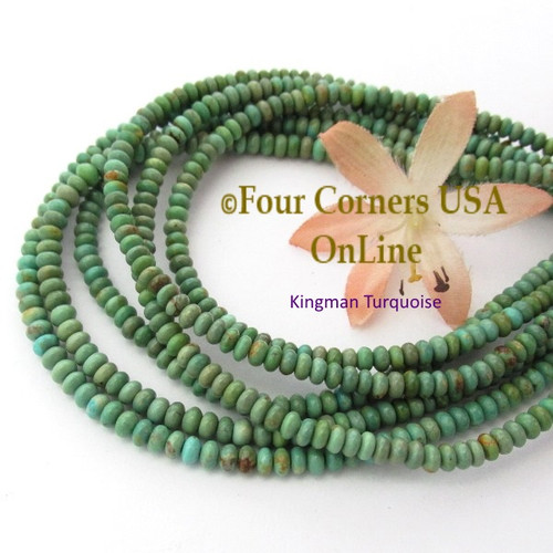 4mm Rondelle Light Green Kingman Turquoise Beads 16 Inch Strands TQ-17113 Four Corners USA OnLine Jewelry Making Beading Supplies