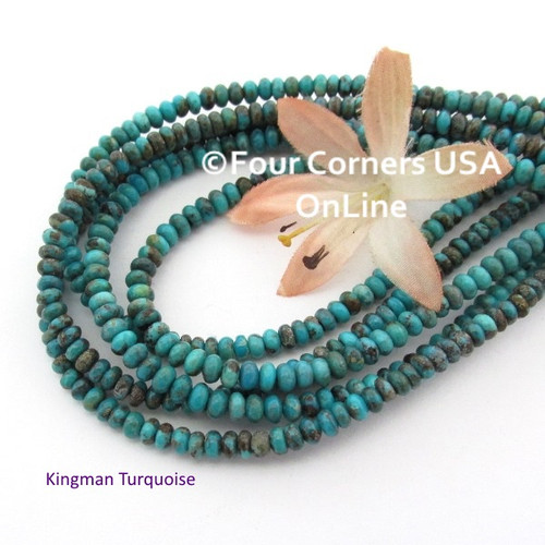 4mm Rondelle Teal Blue Kingman Turquoise Beads 16 Inch Strands TQ-17106 Four Corners USA OnLine Jewelry Making Beading Supplies