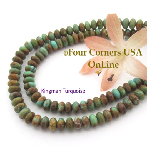6mm Rondelle Green Kingman Turquoise Beads 16 Inch Strands TQ-17104 Four Corners USA OnLine Jewelry Making Beading Supplies