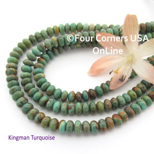 6mm Rondelle Green Kingman Turquoise Beads 16 Inch Strands TQ-17105 Four Corners USA OnLine Jewelry Making Beading Supplies