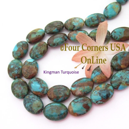 18mm Oval Kingman Boulder Turquoise Beads 16 Inch Strand Four Corners USA OnLine Jewelry Making Beading Supplies KNG-13031