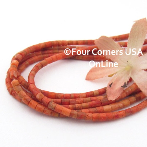 3mm Heishi Apple Coral Organic Beads 22 Inch Strand AC-13010 Four Corners USA OnLine Jewelry Making Beading Supplies