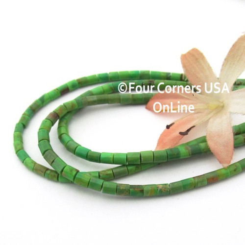 3mm Heishi Mohave Green Kingman Turquoise Beads 22 Inch Strand KNG-13034 Four Corners USA OnLine Jewelry Making Beading Supplies