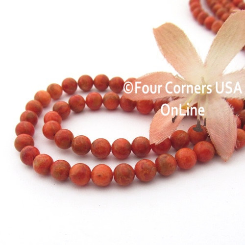 5mm Round Apple Coral Organic Designer Beads 16 Inch Strand AC-13012 Four Corners USA OnLine Jewelry Making Beading Supplies