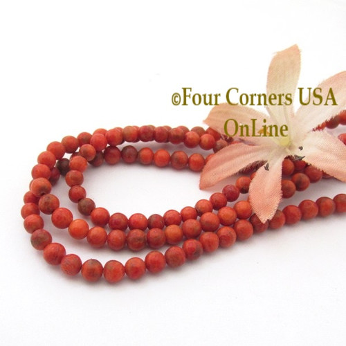 4mm Round Beads Apple Coral Organic Designer 16 Inch Strand AC-13013 Four Corners USA OnLine Jewelry Making Beading Supplies