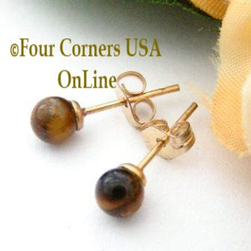 Tiger Eye 14K Gold Filled 4mm Round Stud Post Pierced Earrings EAR-12044 American Artisan Handcrafted Fashion Jewelry Four Corners USA OnLine