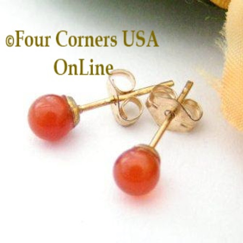 Carnelian 14K Gold Filled 4mm Round Stud Post Pierced Earrings EAR-12045 American Artisan Handcrafted Fashion Jewelry Four Corners USA OnLine