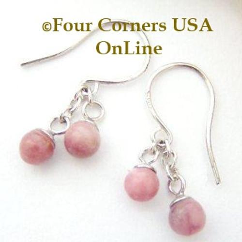 Rhodonite Petite Double Drop Dangle Sterling Pierced Earrings EAR-12052 American Artisan Handcrafted Fashion Jewelry Four Corners USA OnLine