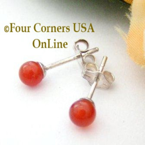 Carnelian Sterling Silver 4mm Round Stud Post Pierced Earrings EAR-12047 American Artisan Handcrafted Fashion Jewelry Four Corners USA OnLine
