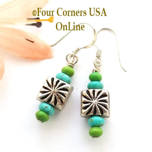 Sunburst Blue Green Turquoise Beaded Sterling Silver Earrings EAR-12055 American Artisan Handcrafted Fashion Jewelry Four Corners USA OnLine