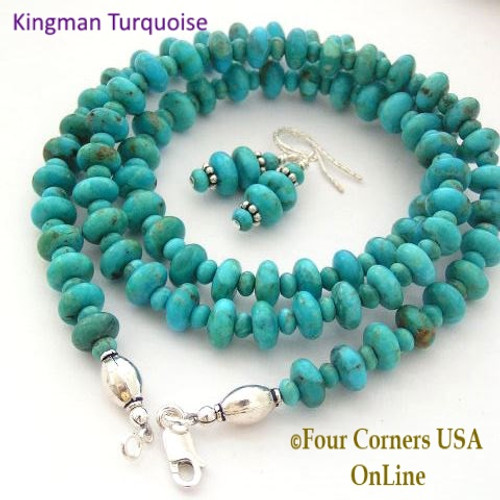 8mm Kingman Turquoise Long 24 Inch Bead Necklace Earring Set Four Corners USA OnLine Artisan Handcrafted Jewelry FCN-13003
