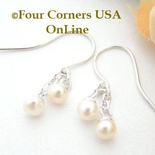 Pearl Petite Double Drop Dangle Sterling Pierced Earrings EAR-12056 American Artisan Handcrafted Fashion Jewelry Four Corners USA OnLine