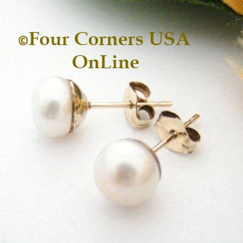 7mm White Freshwater Pearl Stud Post 14K Gold Filled Pierced Earrings Four Corners USA OnLine Artisan Handcrafted Jewelry