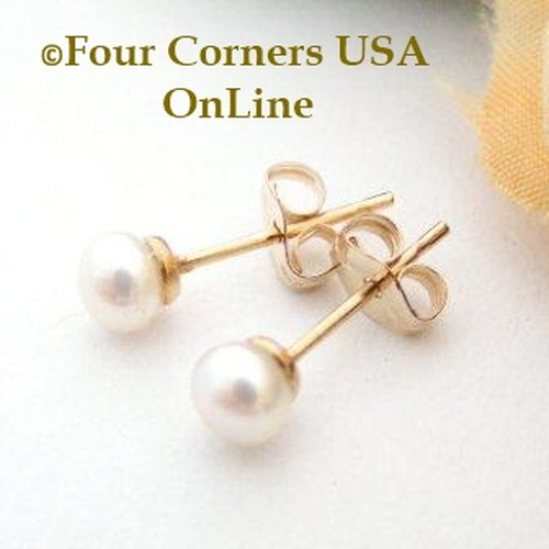 4mm White Freshwater Pearl Stud Post 14K Gold Filled Pierced Earrings Four Corners USA OnLine Artisan Handcrafted Jewelry