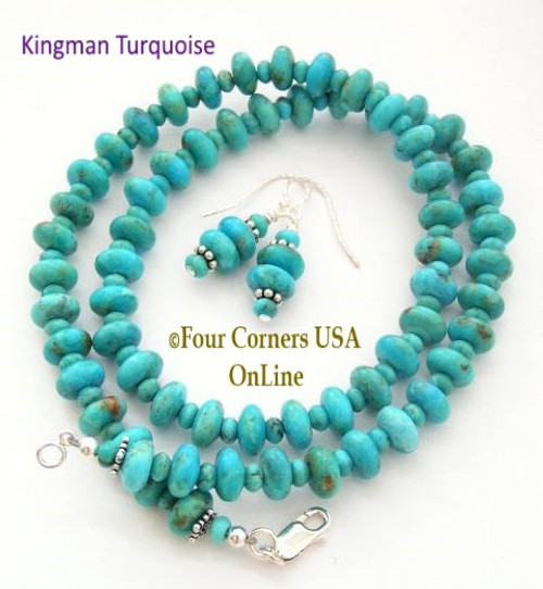 8mm Kingman Turquoise 18 Inch Beaded Necklace Earring Set Four Corners USA OnLine Artisan Crafted Jewelry FCN-13004