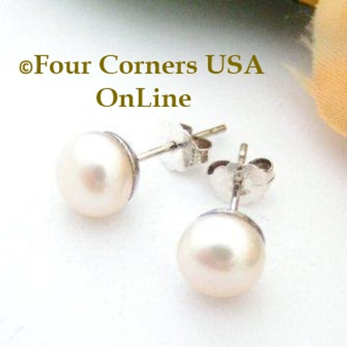 7mm Natural Peach Freshwater Pearl Stud Post Sterling Silver Pierced Earrings American Artisan Handcrafted Fashion Jewelry Four Corners USA OnLine
