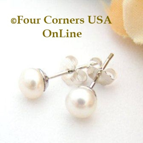 5mm White Freshwater Pearl Stud Post Sterling Silver Pierced Earrings American Artisan Handcrafted Fashion Jewelry Four Corners USA OnLine
