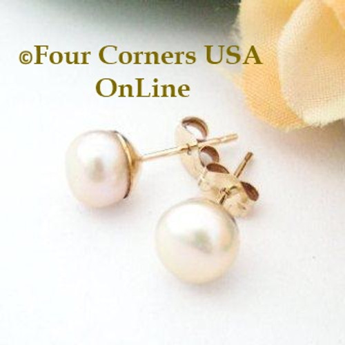 7mm Natural Peach Freshwater Pearl Stud Post 14K Gold Filled Pierced Earrings American Artisan Handcrafted Fashion Jewelry Four Corners USA OnLine