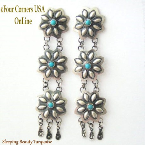 Sleeping Beauty Turquoise Chandelier Post Earrings Navajo Marcella James Four Corners USA OnLine Native American Silver Jewelry NAER-13035