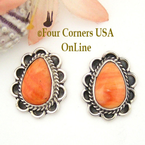 Spiny Oyster Shell Sterling Earrings Post Style Juan Guerro Four Corners USA OnLine Native American Silver Jewelry NAER-13027