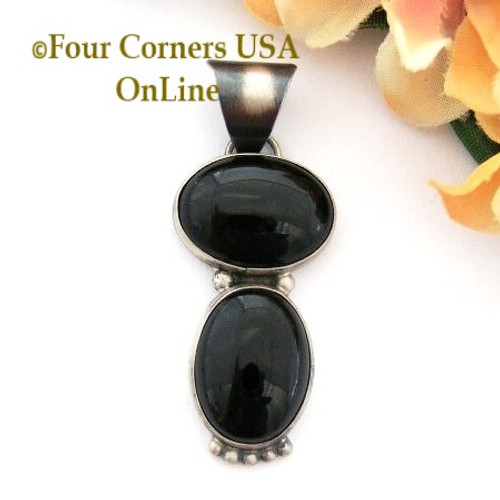 Onyx Antiqued Satin Finish Sterling Pendant by Navajo Annie Lincoln Four Corners USA OnLine Native American Silver Jewelry NAP-09471