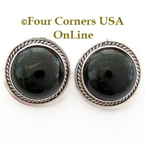 Onyx Sterling Clip On Earrings by Navajo Pansy Johnson On Sale Now Four Corners USA OnLine Native American Silver Jewelry NAER-13032