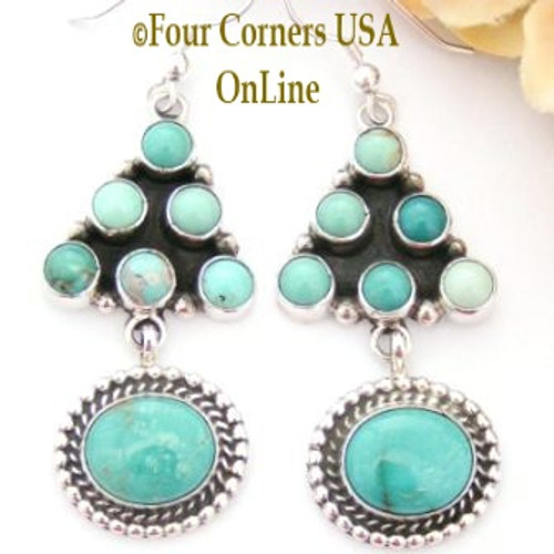 Carico Lake Turquoise Chandelier Sterling Silver Earrings Phillip Yazzie Four Corners USA OnLine Native American Jewelry NAER-130202