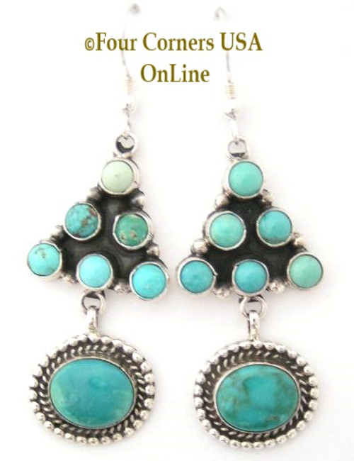 On Sale Now Carico Lake Turquoise Sterling Silver Wire Earrings by Phillip Yazzie Four Corners USA OnLine Native American Navajo Jewelry NAER-130204