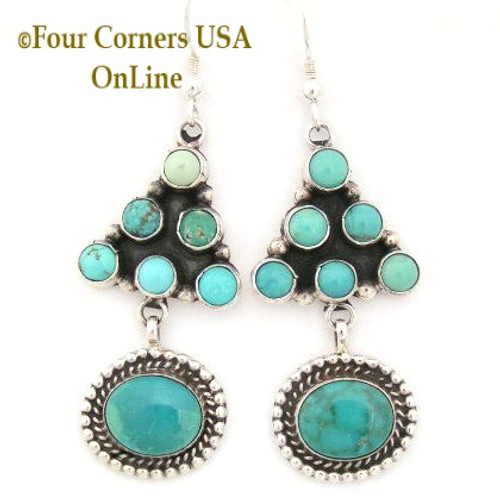 Carico Lake Turquoise Sterling Silver Wire Earrings by Phillip Yazzie Four Corners USA OnLine Native American Navajo Jewelry NAER-130204