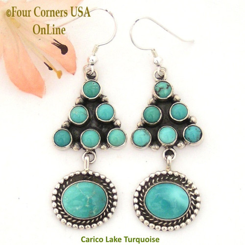 Carico Lake Turquoise Wire Sterling Silver Earrings by Phillip Yazzie On Sale Now Four Corners USA OnLine Native American Navajo Jewelry NAER-130206