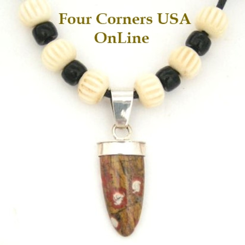 Poppy Jasper Bullet Shape Sterling Pendant Four Corners USA OnLine Navajo Silver Jewelry Four Corners USA OnLine