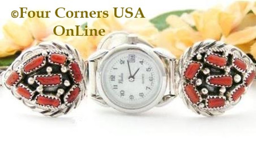 Women's Coral Sterling Silver Watch Navajo Artisan Dennis Okee On Sale at Four Corners USA OnLine Native American Jewelry NAW-09338
