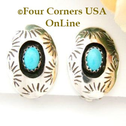 Sleeping Beauty Shadow Box Clip On Earrings On Sale Now Four Corners USA OnLine Native American Navajo Jewelry by Irene Tom NAER-13039