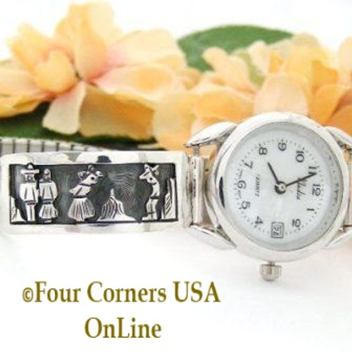 Story Teller Sterling Overlay Women's Watch Navajo Artisan Sharon Cisco Four Corners USA OnLine Native American Jewelry On Sale NAW-093393