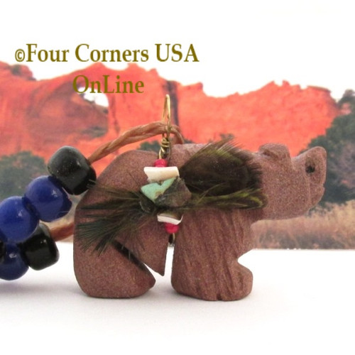 Carved Sandstone Bear Pendant with Offering Bundle Native American Navajo Artisan Phil Corley Four Corners USA OnLine NAN-09040