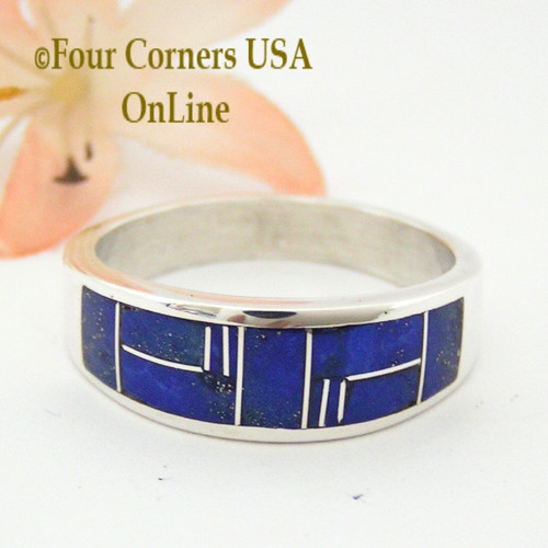 Size 13 1/2 Lapis Inlay Sterling Silver Band Ring Native American Navajo Aaron Toadlena NAR-13016 Four Corners USA OnLine Jewelry