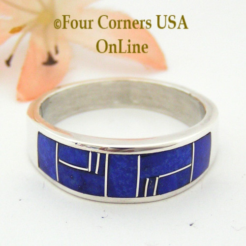 Size 13 1/2 Lapis Inlay Sterling Silver Mens Band Ring Native American Navajo Aaron Toadlena NAR-13017 Four Corners USA OnLine Jewelry Store