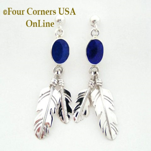 Lapis Lazuli Double Feather Dangle Sterling Post Earrings Four Corners USA OnLine Native American Silver Jewelry NAER-13065