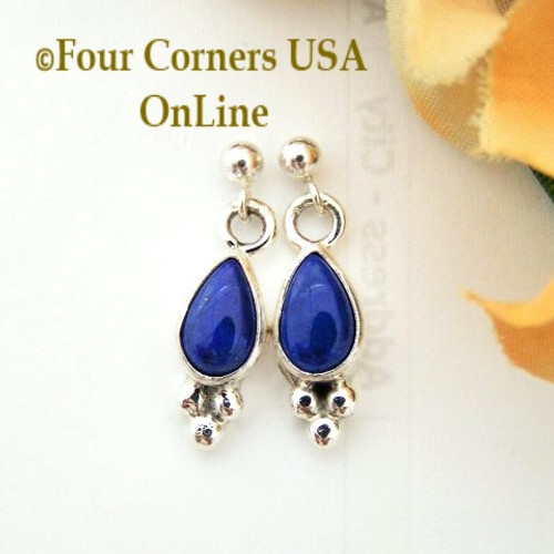 Lapis Lazuli Teardrop Dangle Post Earrings Artisan Bonnie Sandoval Four Corners USA OnLine Native American Silver Jewelry NAER-13067