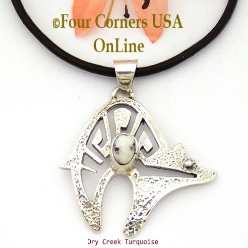 Dry Creek Turquoise Bear Pendant 18 Inch Leather Necklace No 14 Artisan Charlie Bowie Four Corners USA OnLine Native American Silver Jewelry