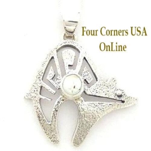 Dry Creek Turquoise Bear Pendant 18 Inch Italian Chain Necklace No 13 Artisan Charlie Bowie (NAP-13013) Four Corners USA OnLine