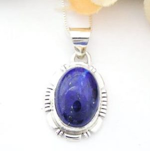 Lapis Lazuli Sterling Pendant Navajo Artisan Thomas Francisco Native American Indian Silver Jewelry (NAP-13037)