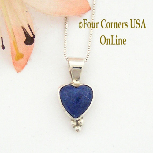 Lapis Heart Pendant 16 Inch Sterling Necklace Navajo Jane Francisco Four Corners USA OnLine Native American Jewelry NAP-13039