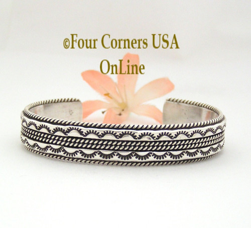 On Sale Now Detailed Stamped Cuff Bracelet Native American Navajo Sterling Silver Jewelry by Tahe NAC-09471 Four Corners USA OnLine