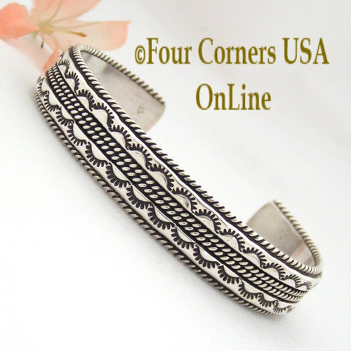 Detailed Stamped Cuff Bracelet Native American Indian Navajo Sterling Silver Jewelry by Tahe NAC-09471 Four Corners USA OnLine