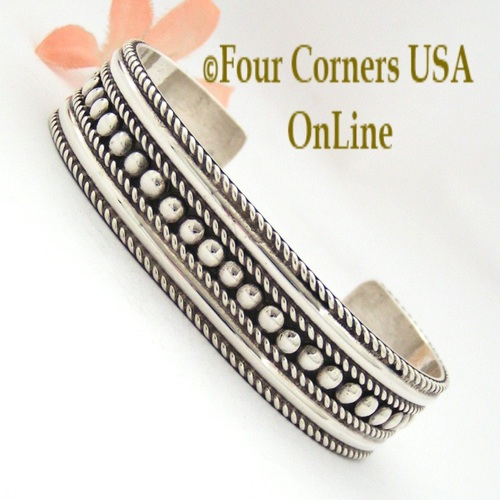 Sterling Silver Bead Design Navajo Cuff Bracelet Four Corners USA OnLine Native American Jewelry